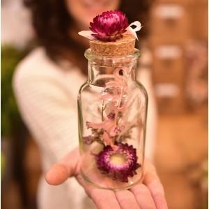 bouteille verre fleurs séchées